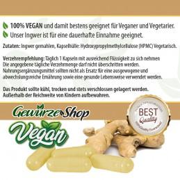 Ingwer Kapseln - 100% Vegan - 100 Stk.