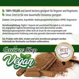 Zimt Kapseln - 100% Vegan - 100 Stk. 480mg