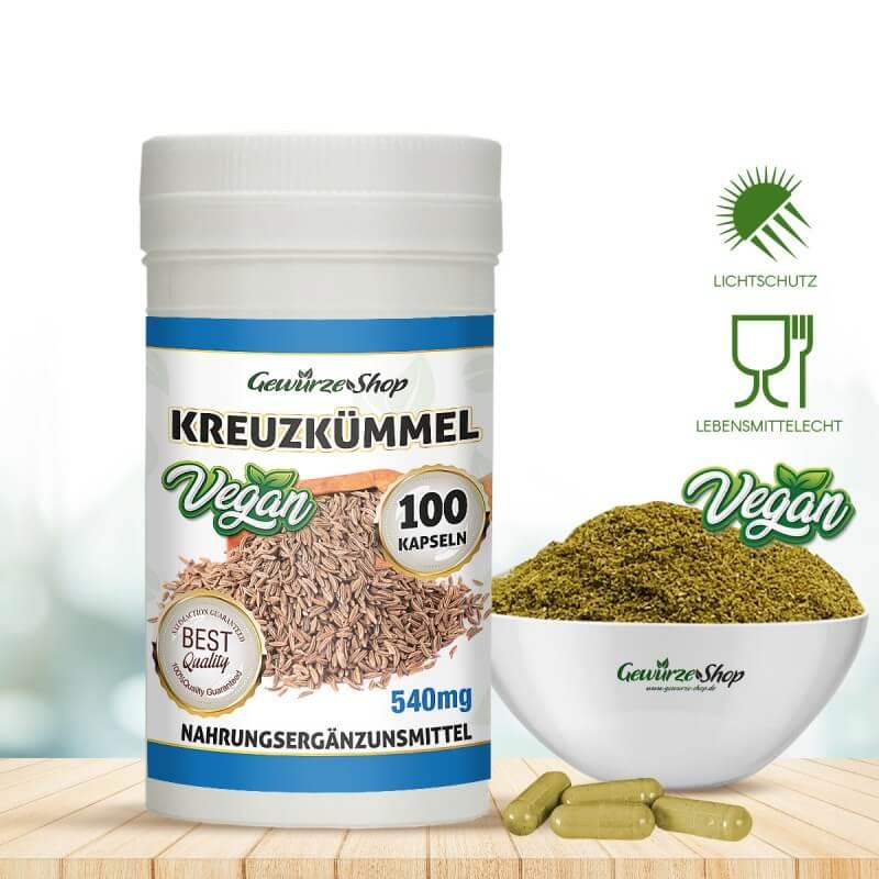 Kreuzkümmel Kumin Kapseln - 100% Vegan - 100 Stk. 540mg von Gewürze Shop