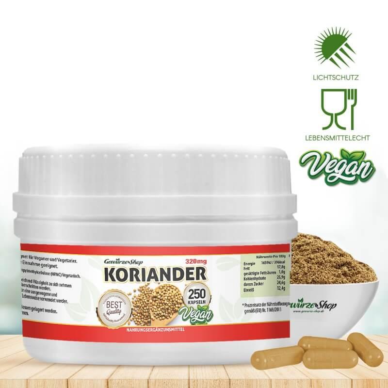 Koriander Kapseln - 100% Vegan - 250 Stk. 320mg von Gewürze Shop
